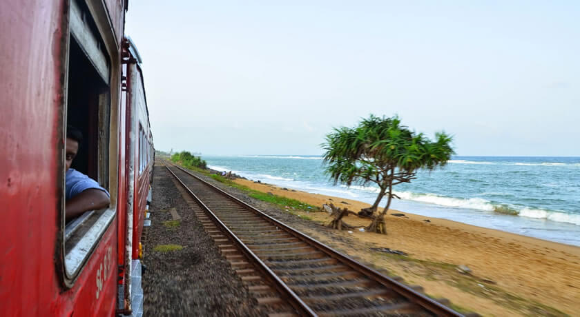 Coastal train rides in Sri Lanka